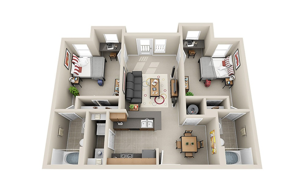 Two Bed Two Bath - 2 bedroom floorplan layout with 2 baths and 834 square feet.